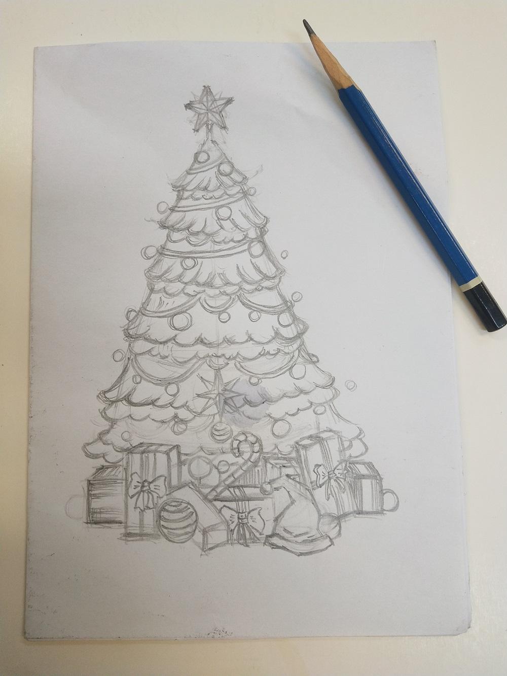 吹塑版畫基礎篇:聖誕樹